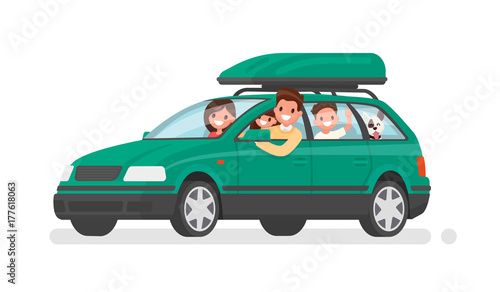 Staande foto Cartoon cars Happy family goes by car on vacation. Father, mother, son, daughter and dog go on a trip. Vector illustration