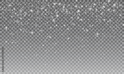 Ralistic snow. Vectror transparent snow background. Christmas and New Year decoration