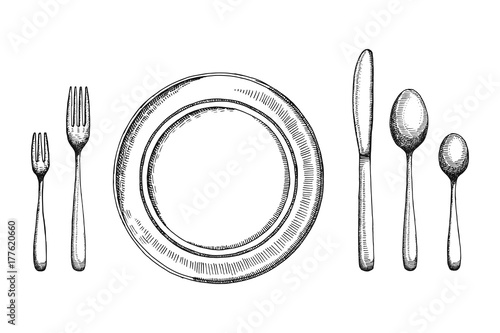 Fotografía Plate dining room with fork spoons and knife vector sketch