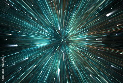 Plakat Time warp, podróż w przestrzeni kosmicznej. Dylatacja czasu