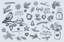 Set Of Winter, Christmas, New Year Illustrations