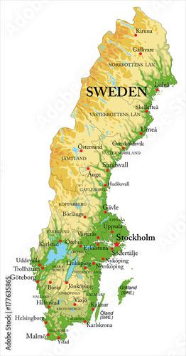 Fotografie, Obraz Sweden relief map