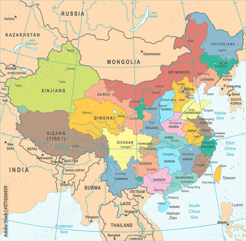 Fotografie, Obraz China Map - Vector Illustration