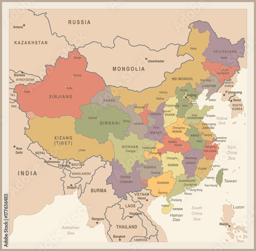 Obraz na plátně China Map - Vintage Vector Illustration