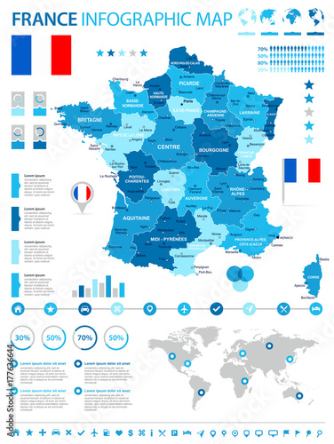 Photo  France - infographic map and flag - illustration