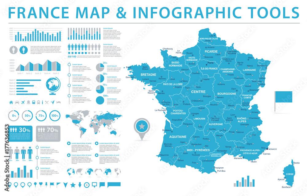 Fototapeta France Map - Info Graphic Vector Illustration