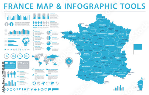 Photo  France Map - Info Graphic Vector Illustration