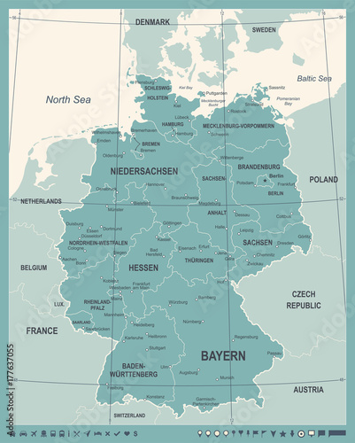 Canvas Print Germany Map - Vintage Vector Illustration