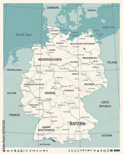 Zdjęcie XXL Niemcy mapa - Vintage ilustracji wektorowych