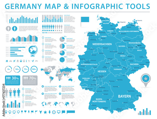 Photo Germany Map - Info Graphic Vector Illustration