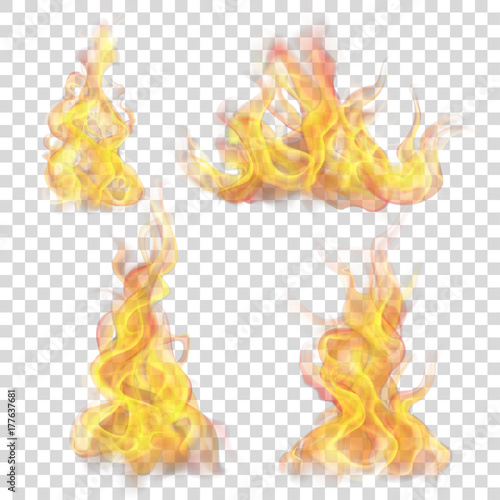 Obraz Set of fire flame on transparent background. For used on light backgrounds. Transparency only in vector format - fototapety do salonu