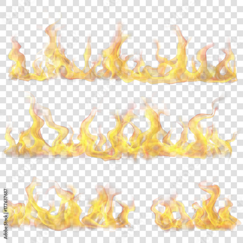 Obraz Set of horizontal fire flame on transparent background. For used on light backgrounds. Transparency only in vector format - fototapety do salonu