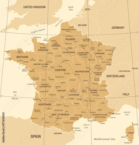 France Map - Vintage Vector Illustration Wallpaper Mural