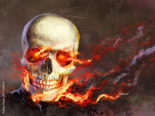 Fotografie, Obraz  Hell-man, skull