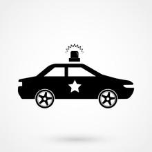 Police Car Icon - Black Vector...