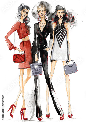 Three girls with handbags.