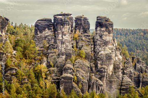 Photo  Neurathen rock Castle is located near the famous Bastei rocks near Rathen in Saxon Switzerland in the German Free State of Saxony