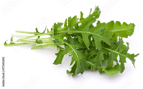 Photo Close up studio shot of green fresh rucola leaves isolated on white background
