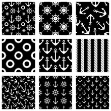 Set Of Vector Seamless Patterns With Anchor, Steering Wheel, Life Preserver And Waves. Creative Geometric Symmetrical Background, Nautical Theme. Graphic Illustration In Black, White Colors.