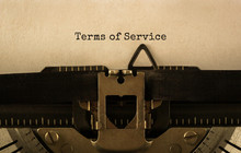 Text Terms Of Service Typed On Retro Typewriter