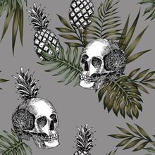 Skull Pineapple Pattern Seamless