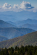 canvas print picture - Blue Ridge Mountains Smoky Mountain National Park wide horizon landscape background layered hills and valleys