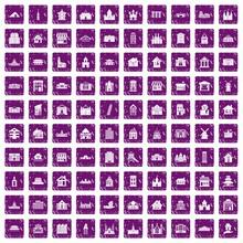 100 Building Icons Set Grunge Purple