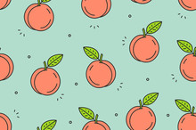 Peaches Seamless Pattern. Vect...