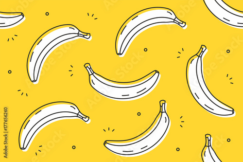Bananas seamless pattern. Vector illustration - 177656260