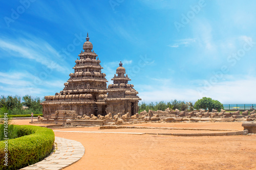 Wall Murals Place of worship Shore temple at Mahabalipuram, Tamil Nadu, India