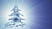 Christmas Water Splash Tree On Blue Background