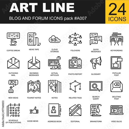 Trendy line icon pack for designers and developers  Vector