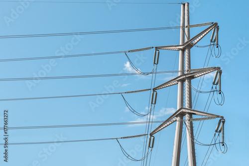 Fotografie, Obraz  High voltage power distribution pole
