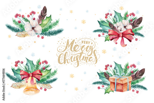 merry christmas watercolor bouquets card with floral elements happy new year lettering posters winter