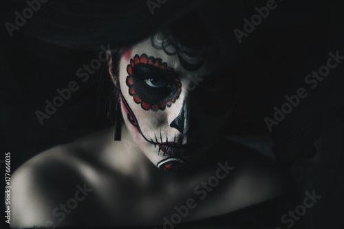Spoed Fotobehang Halloween of the dead makeup