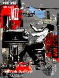 Jazzowy plakat z pianistą na tło grunge - 177666277