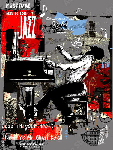 Tuinposter Art Studio Jazz poster with pianist over grunge background