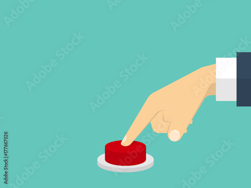 Fotomural Hand pressing the red button. Flat design style. Vector illustra