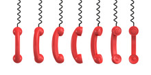 3d Rendering Of Several Red Retro Phone Receivers Hanging From Their Black Cords On A White Background.