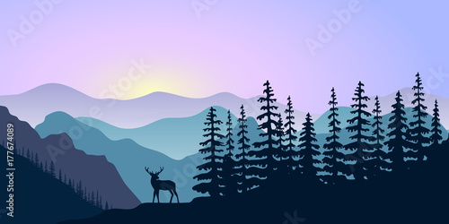 Printed kitchen splashbacks Purple landscape with silhouettes of deer, mountains deer and forest at sunrise. Vector illustration