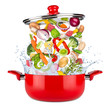 fresh ingredients vegetables and meat falling into red cooking pot with water splash food kitchen concept isolated on white background / Frische Zutaten gemüse fallen in roten Kochtopf isoliert