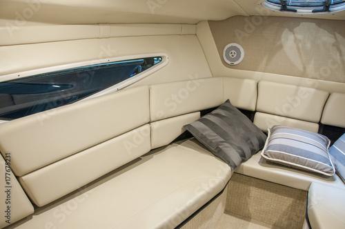 Interior of luxury yacht