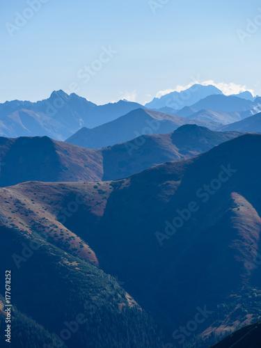 Garden Poster Scandinavia Tatra mountain peak view in Slovakia in sunny day