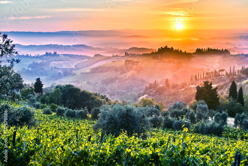 Landscape view of Tuscany, Italy during sunrise