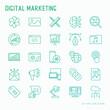 Digital marketing thin line icons set: searching idea, development, optimization, management, communication. Vector illustration for banner, web page, print media.