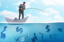 Businessman Fishing Dollars Mo...