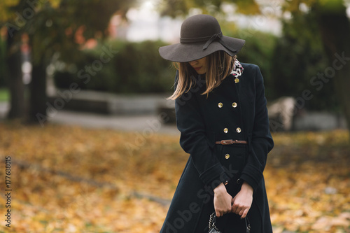 Fotografie, Tablou  Stylish woman in coat and hat