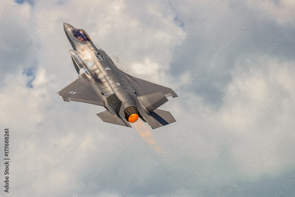 Fototapety, obrazy: The Lockheed Martin F-35 Lightning II from Stewart International Airport during the New York Airshow.