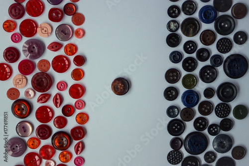 Fotografie, Obraz  Background of black and red buttons.