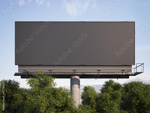 Obraz Black billboard among trees against. 3d rendering - fototapety do salonu